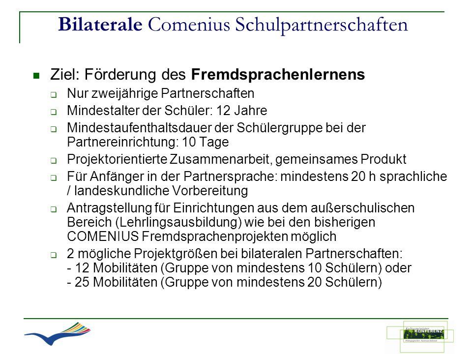 Bilaterale Comenius Schulpartnerschaften