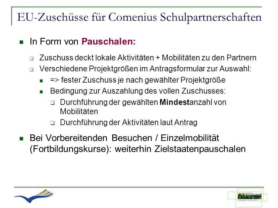 EU-Zuschüsse für Comenius Schulpartnerschaften