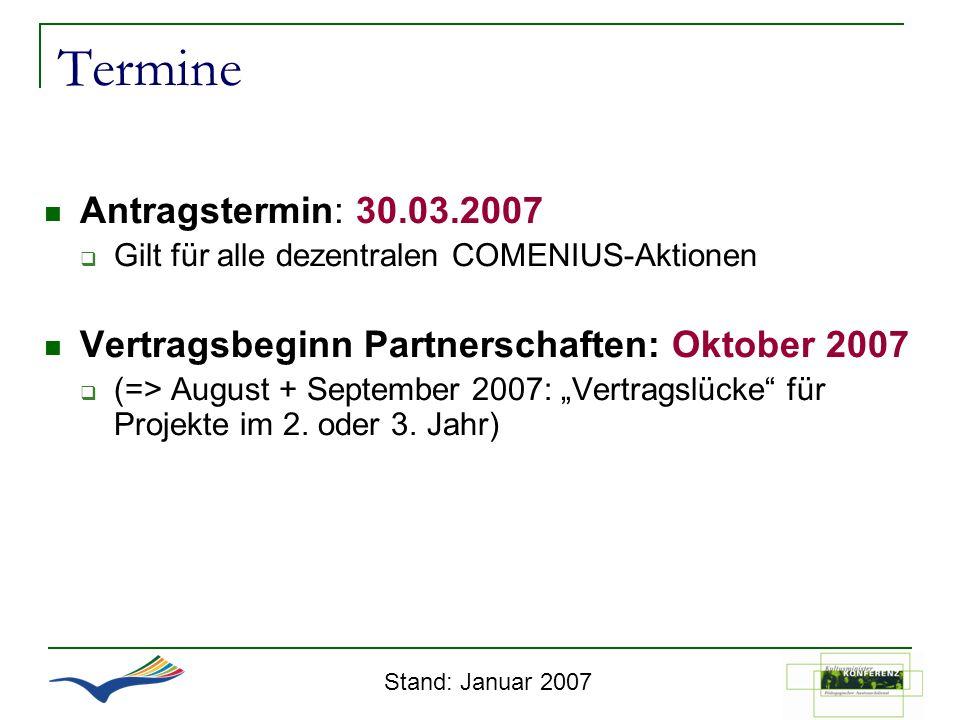 Termine Antragstermin: 30.03.2007