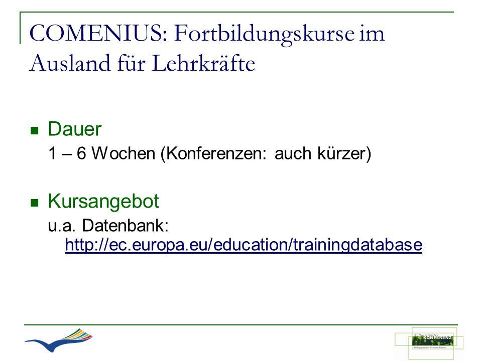 COMENIUS: Fortbildungskurse im Ausland für Lehrkräfte