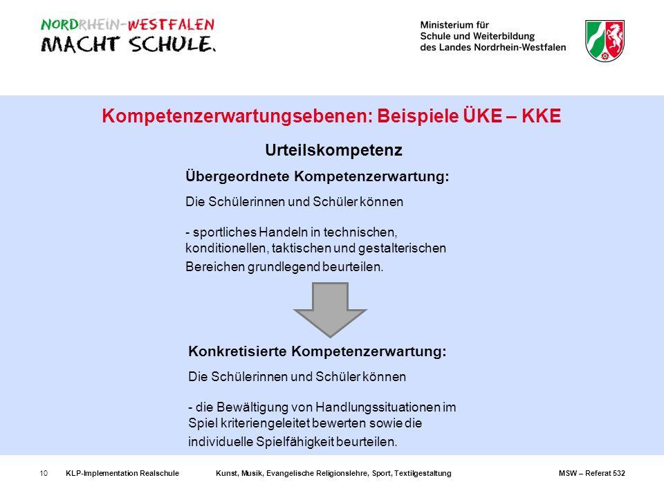 Kompetenzerwartungsebenen: Beispiele ÜKE – KKE