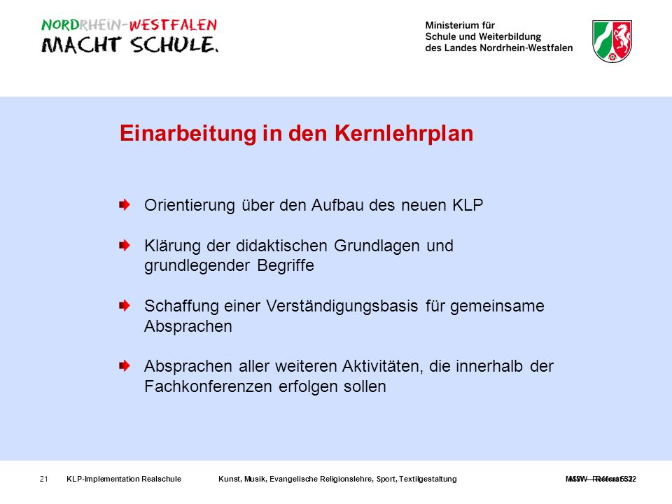 Orientierung über den Aufbau des neuen KLP