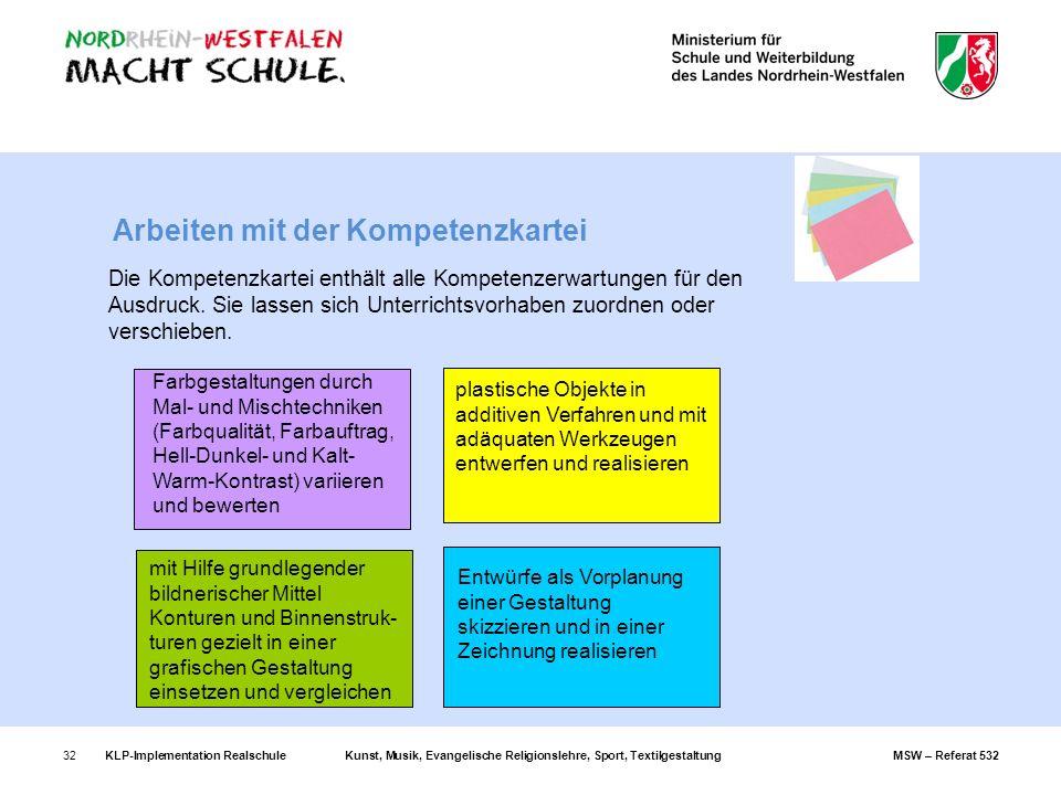 Arbeiten mit der Kompetenzkartei
