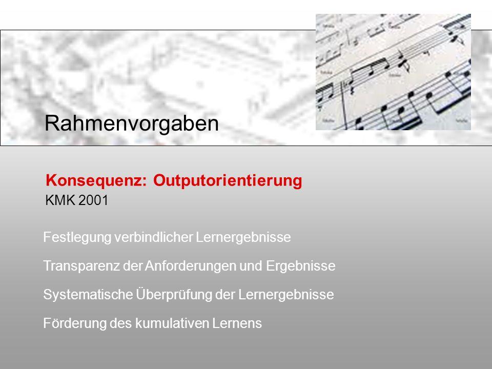 Rahmenvorgaben Konsequenz: Outputorientierung KMK 2001