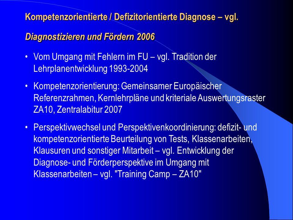 Kompetenzorientierte / Defizitorientierte Diagnose – vgl