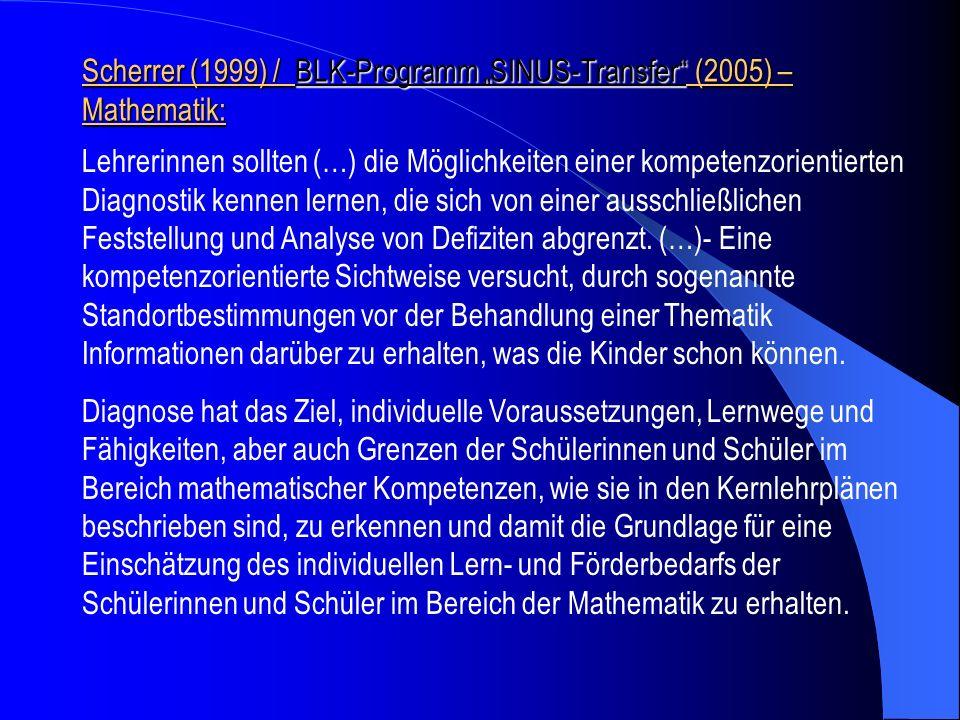 """Scherrer (1999) / BLK-Programm """"SINUS-Transfer (2005) – Mathematik:"""