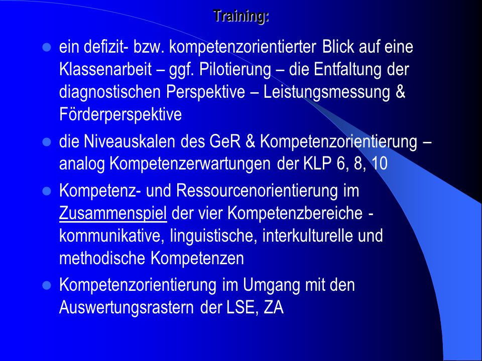 Kompetenzorientierung im Umgang mit den Auswertungsrastern der LSE, ZA