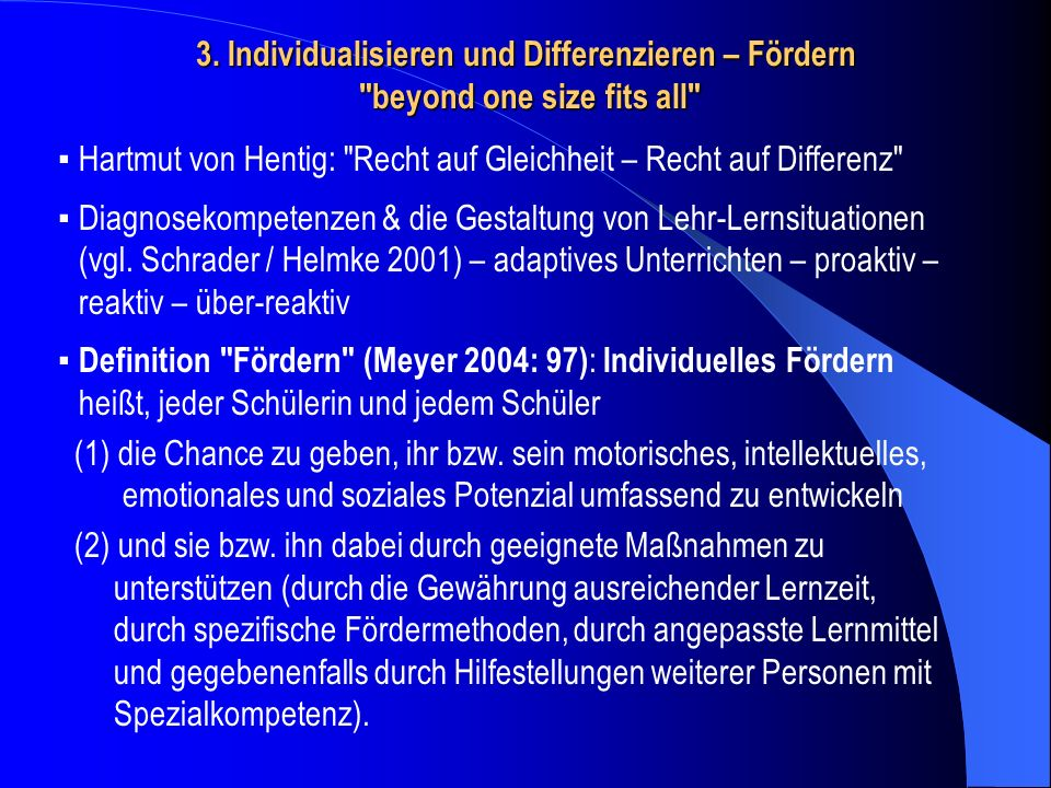3. Individualisieren und Differenzieren – Fördern beyond one size fits all