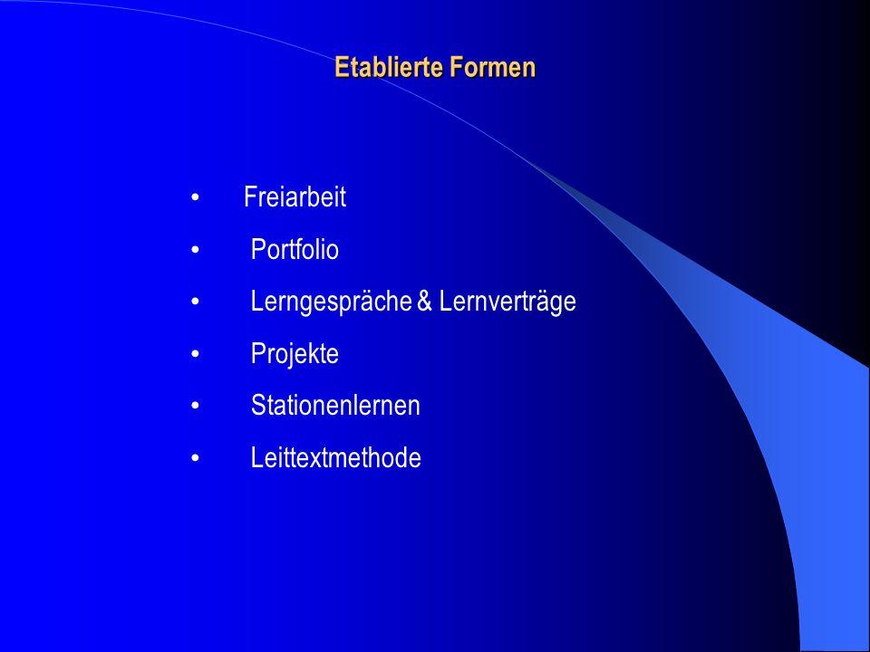 Etablierte Formen Freiarbeit. Portfolio. Lerngespräche & Lernverträge. Projekte.
