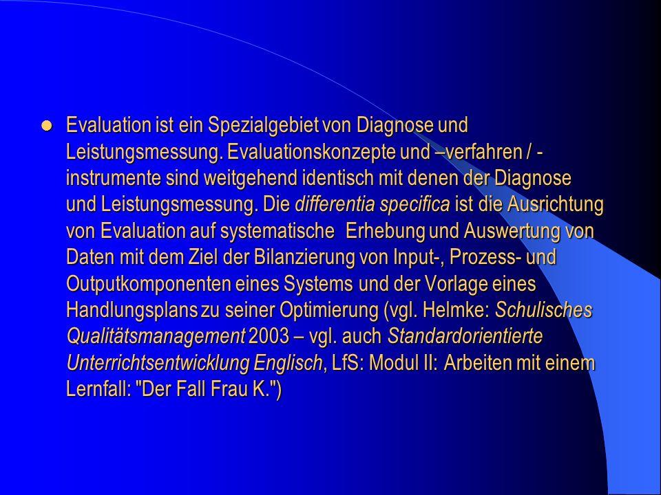 Evaluation ist ein Spezialgebiet von Diagnose und Leistungsmessung