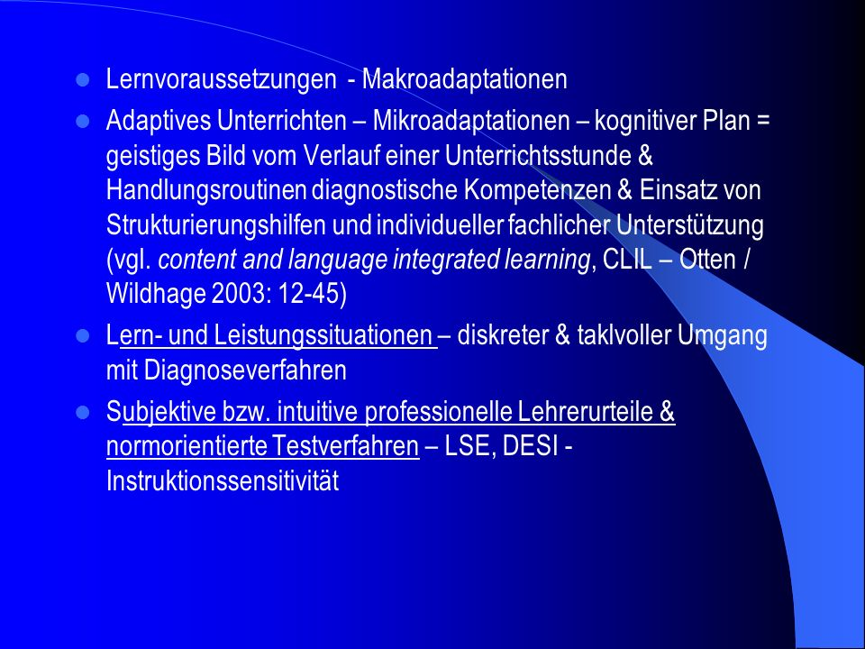 Lernvoraussetzungen - Makroadaptationen