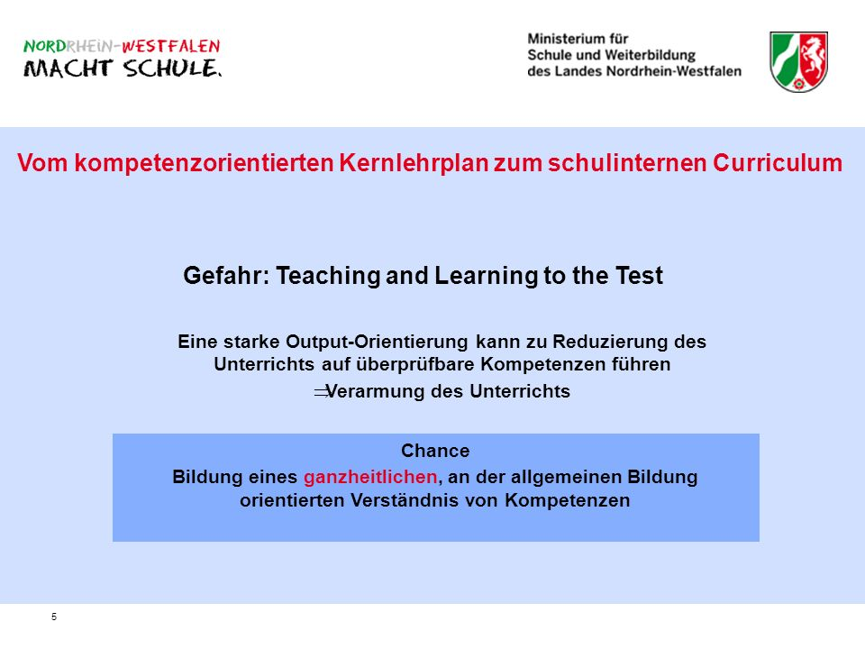 Gefahr: Teaching and Learning to the Test Verarmung des Unterrichts
