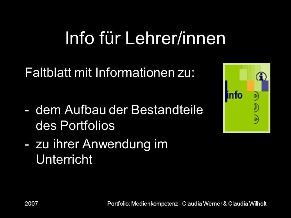 Info für Lehrer/innen Faltblatt mit Informationen zu: