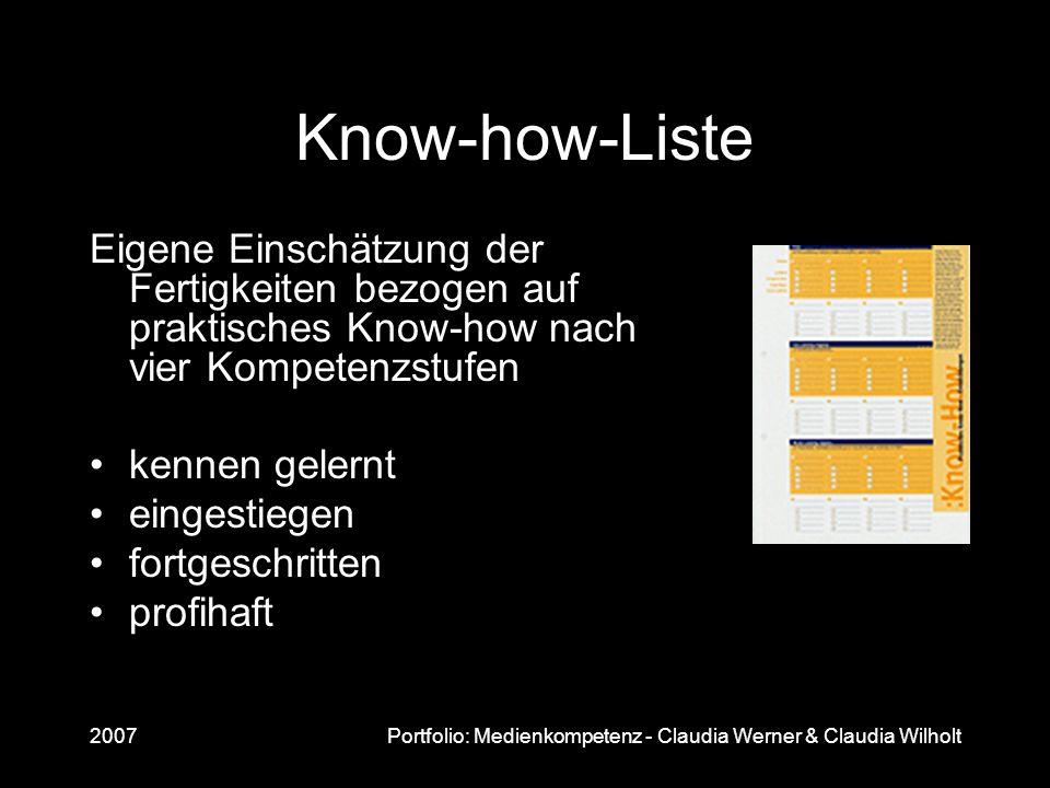 Know-how-Liste Eigene Einschätzung der Fertigkeiten bezogen auf praktisches Know-how nach vier Kompetenzstufen.