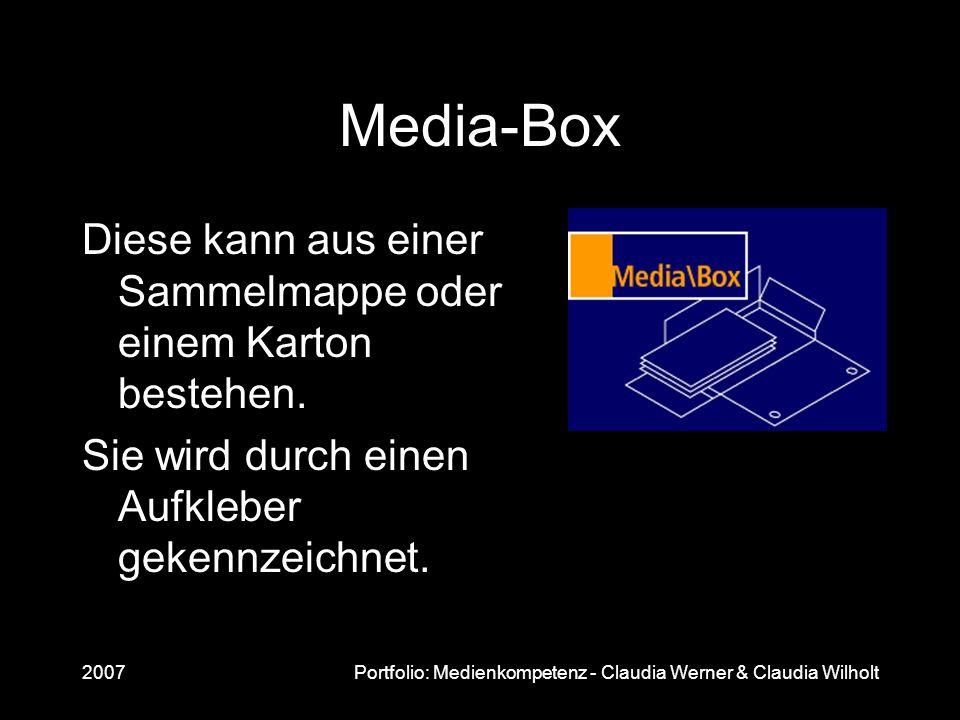 Media-Box Diese kann aus einer Sammelmappe oder einem Karton bestehen.