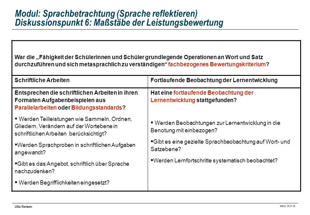 Modul: Sprachbetrachtung (Sprache reflektieren) Diskussionspunkt 6: Maßstäbe der Leistungsbewertung