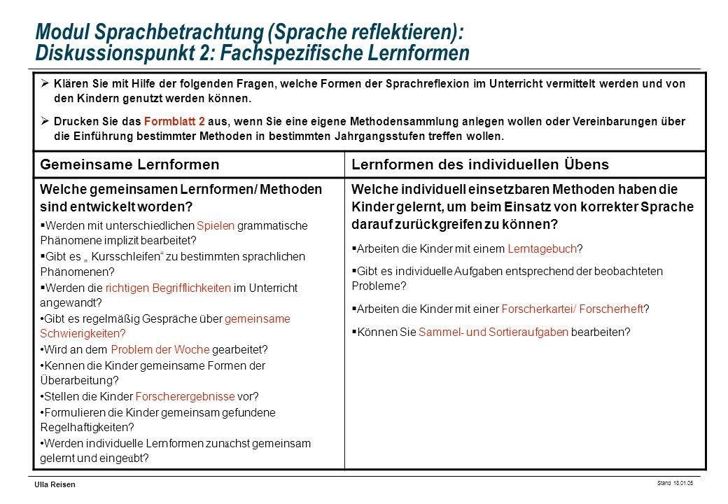 Modul Sprachbetrachtung (Sprache reflektieren): Diskussionspunkt 2: Fachspezifische Lernformen