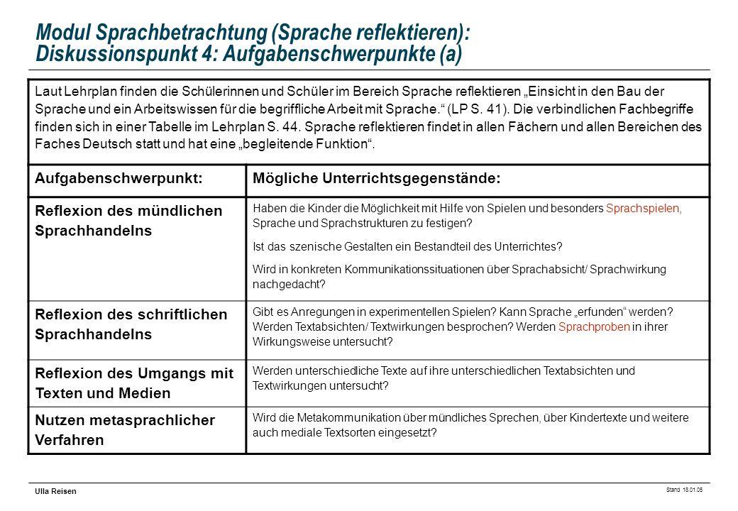 Modul Sprachbetrachtung (Sprache reflektieren): Diskussionspunkt 4: Aufgabenschwerpunkte (a)