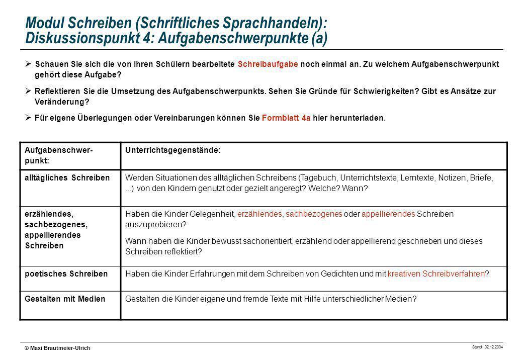 Modul Schreiben (Schriftliches Sprachhandeln): Diskussionspunkt 4: Aufgabenschwerpunkte (a)