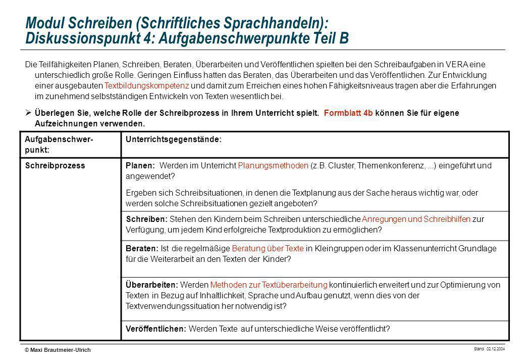 Modul Schreiben (Schriftliches Sprachhandeln): Diskussionspunkt 4: Aufgabenschwerpunkte Teil B