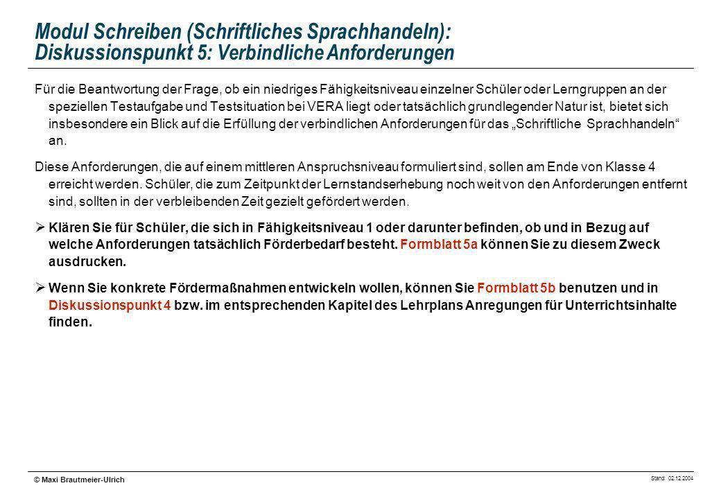 Modul Schreiben (Schriftliches Sprachhandeln): Diskussionspunkt 5: Verbindliche Anforderungen