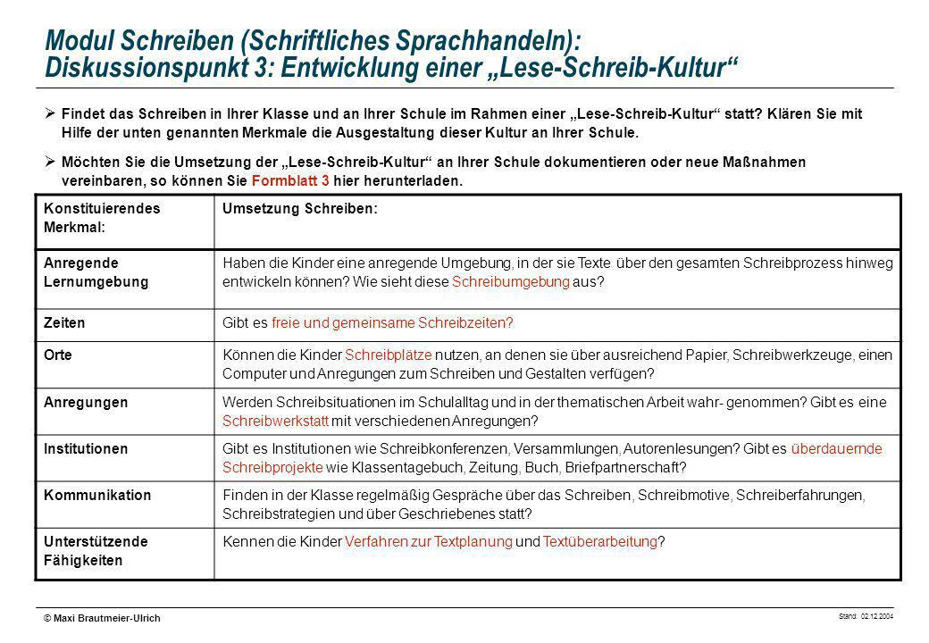 """Modul Schreiben (Schriftliches Sprachhandeln): Diskussionspunkt 3: Entwicklung einer """"Lese-Schreib-Kultur"""