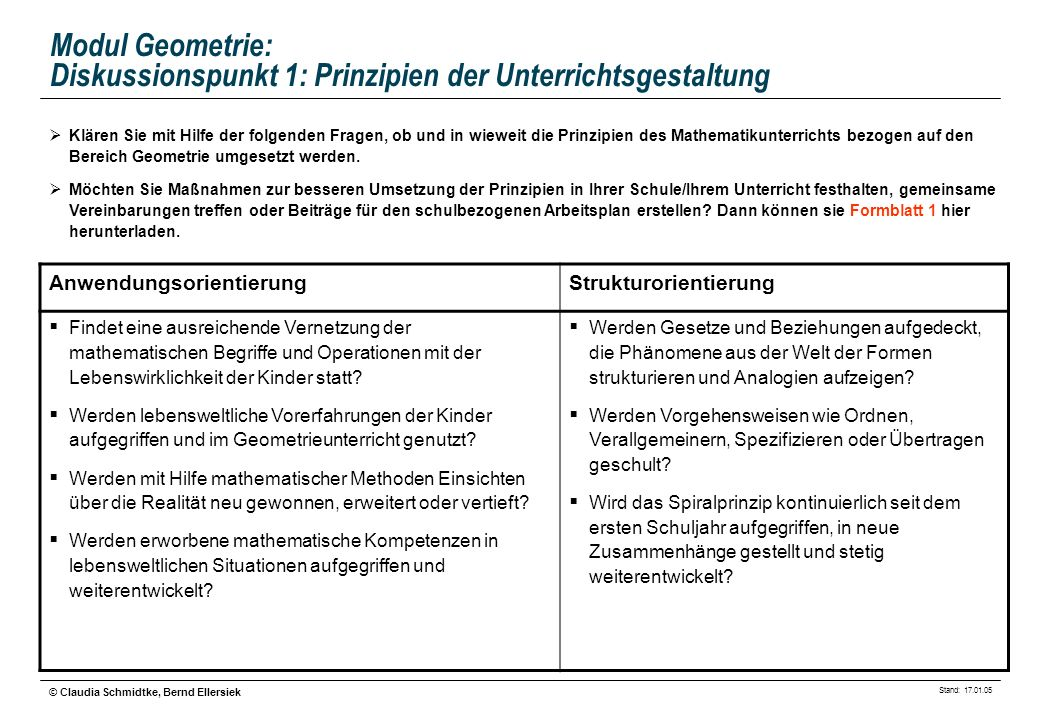 Modul Geometrie: Diskussionspunkt 1: Prinzipien der Unterrichtsgestaltung