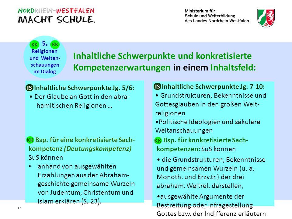 5. Religionen. und Weltan- schauungen. im Dialog. KK. KK.