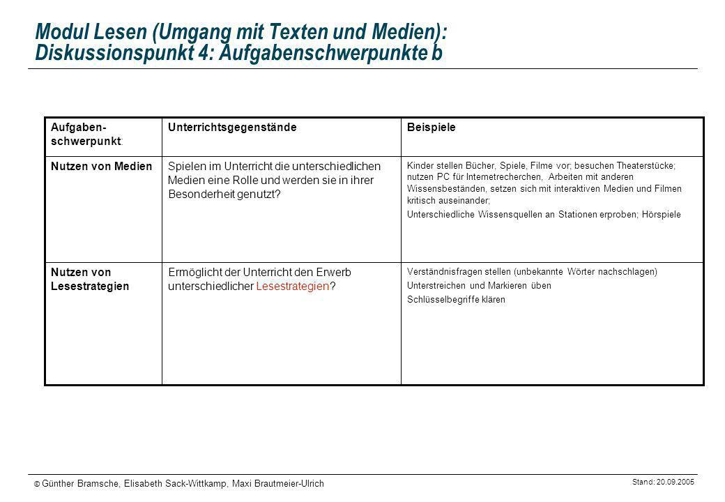Modul Lesen (Umgang mit Texten und Medien): Diskussionspunkt 4: Aufgabenschwerpunkte b
