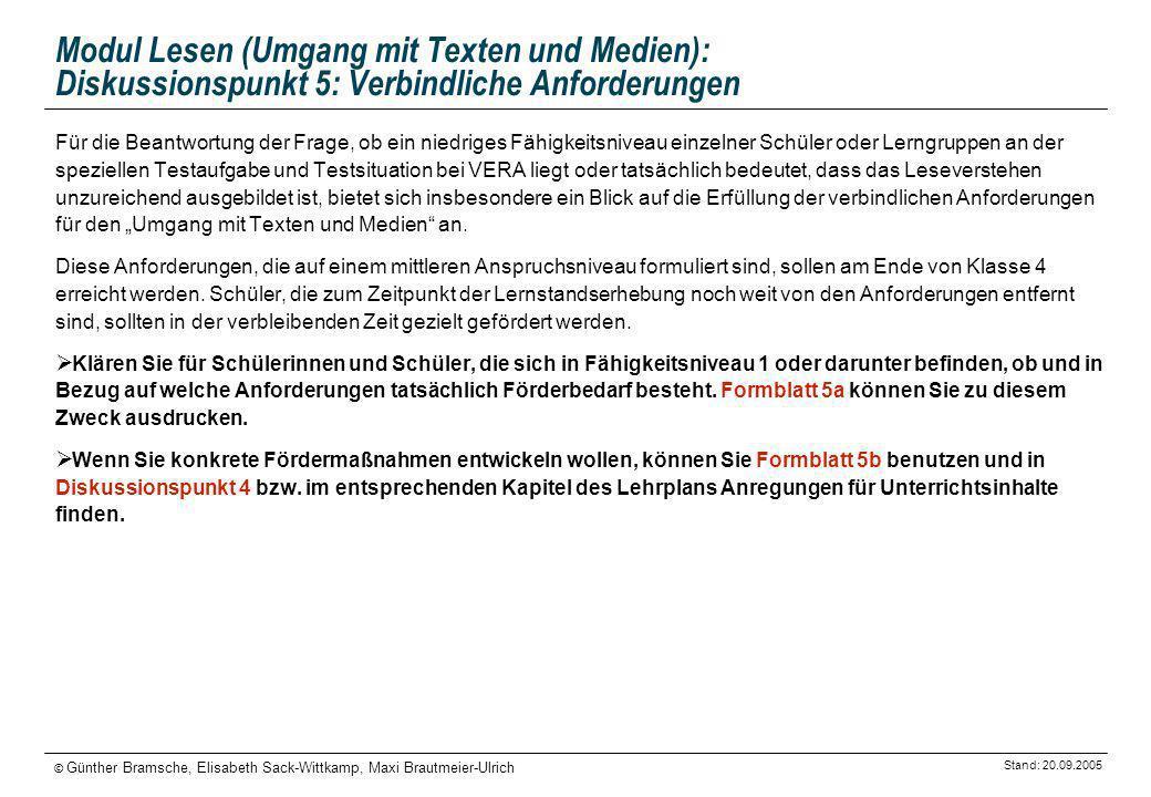 Modul Lesen (Umgang mit Texten und Medien): Diskussionspunkt 5: Verbindliche Anforderungen
