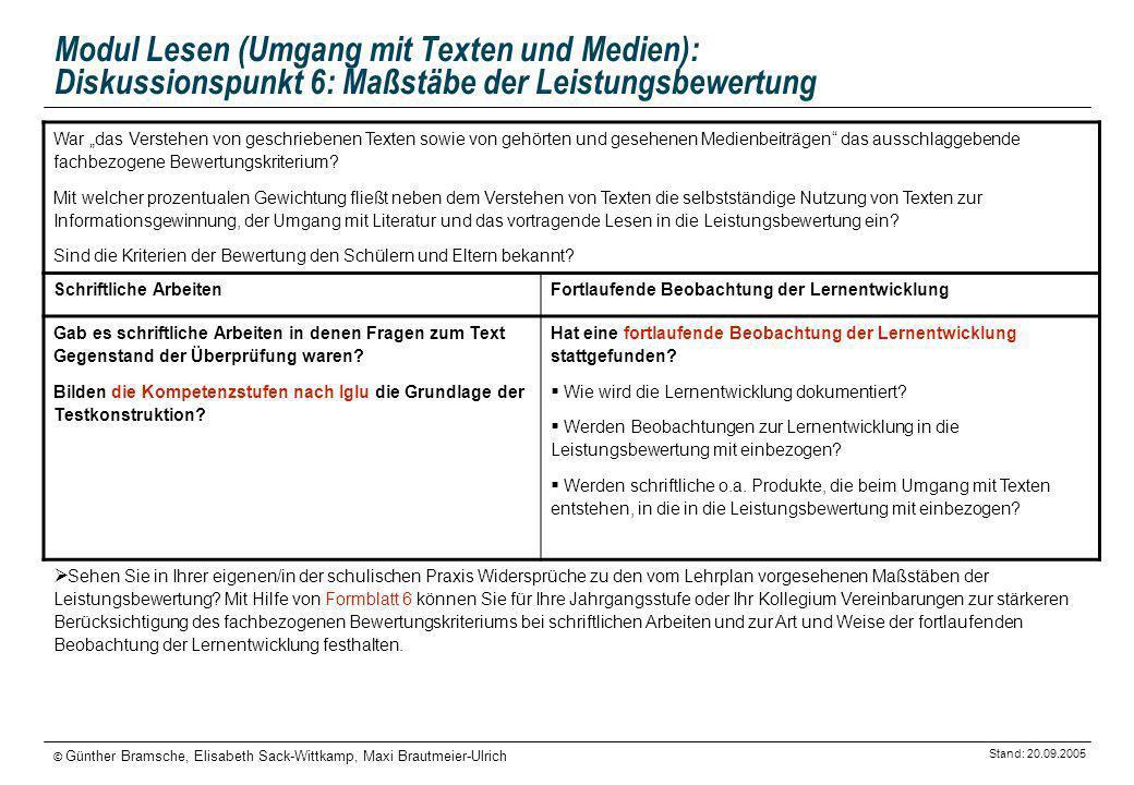Modul Lesen (Umgang mit Texten und Medien): Diskussionspunkt 6: Maßstäbe der Leistungsbewertung
