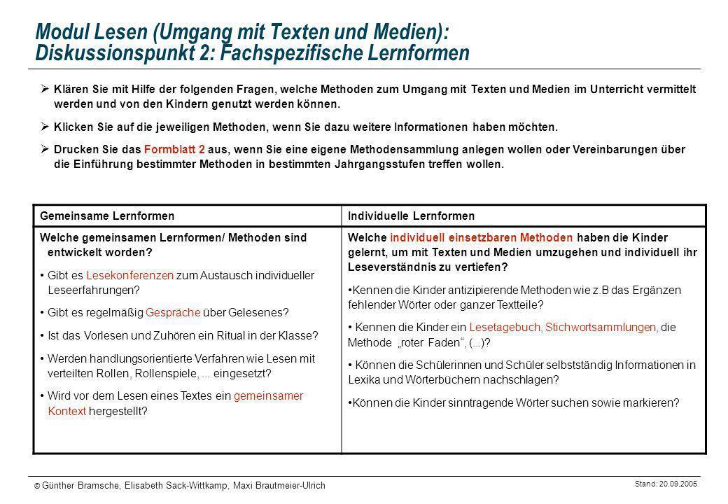 Modul Lesen (Umgang mit Texten und Medien): Diskussionspunkt 2: Fachspezifische Lernformen