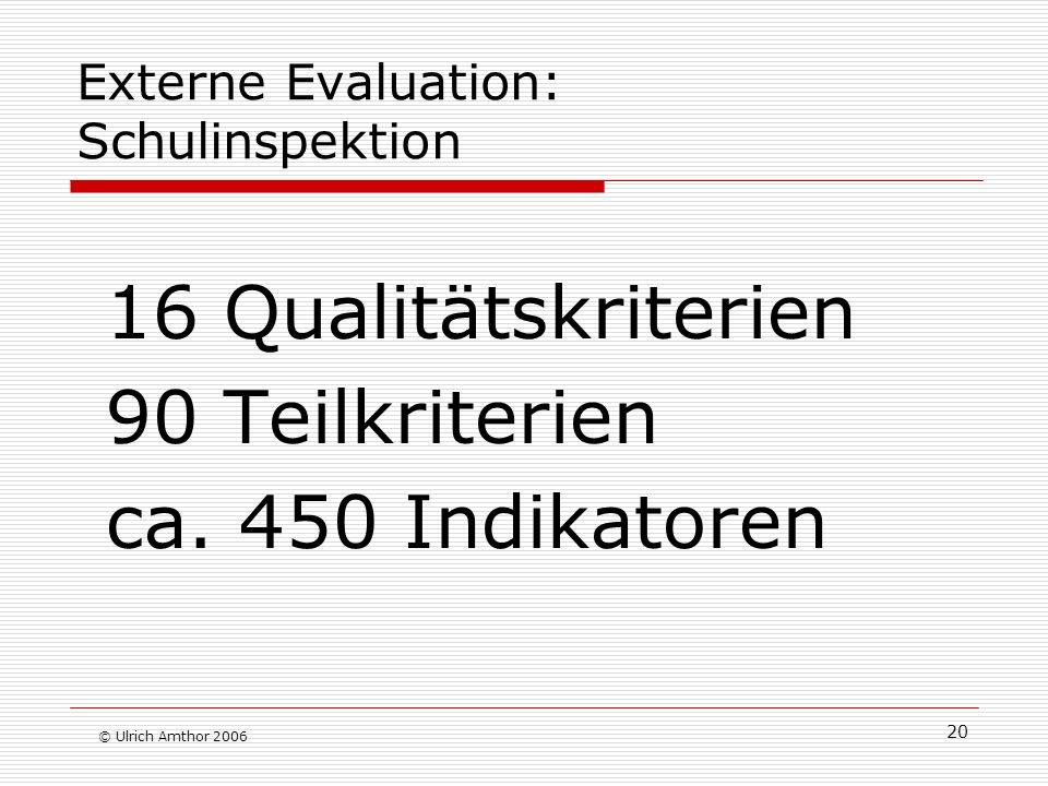 Externe Evaluation: Schulinspektion
