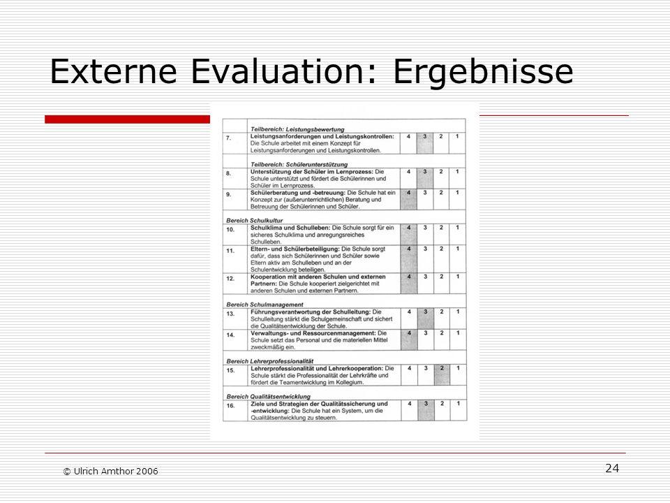 Externe Evaluation: Ergebnisse
