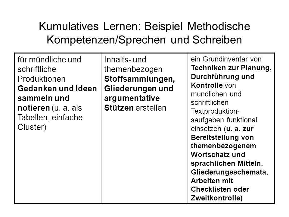 Kumulatives Lernen: Beispiel Methodische Kompetenzen/Sprechen und Schreiben
