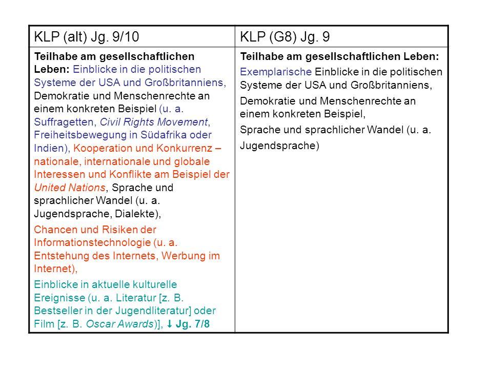 KLP (alt) Jg. 9/10 KLP (G8) Jg. 9.