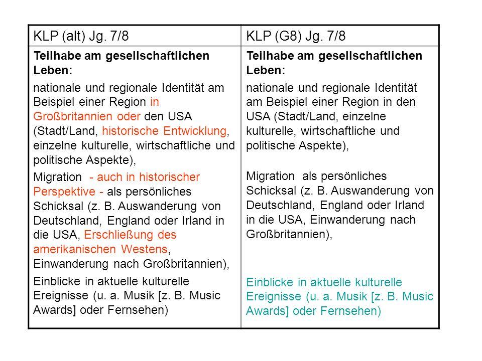 KLP (alt) Jg. 7/8 KLP (G8) Jg. 7/8