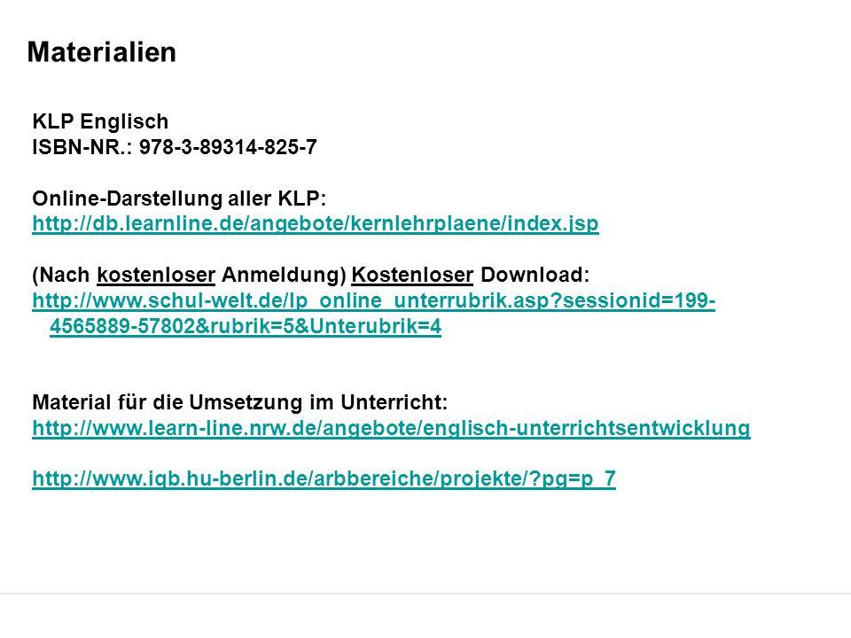Materialien KLP Englisch ISBN-NR.: 978-3-89314-825-7