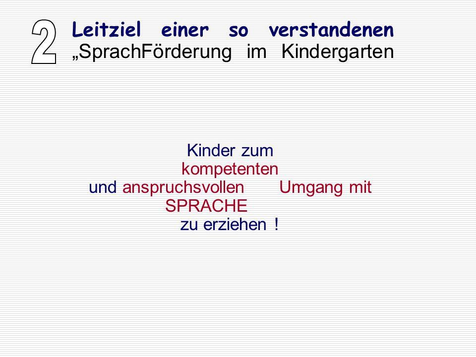 """2 Leitziel einer so verstandenen """"SprachFörderung im Kindergarten"""