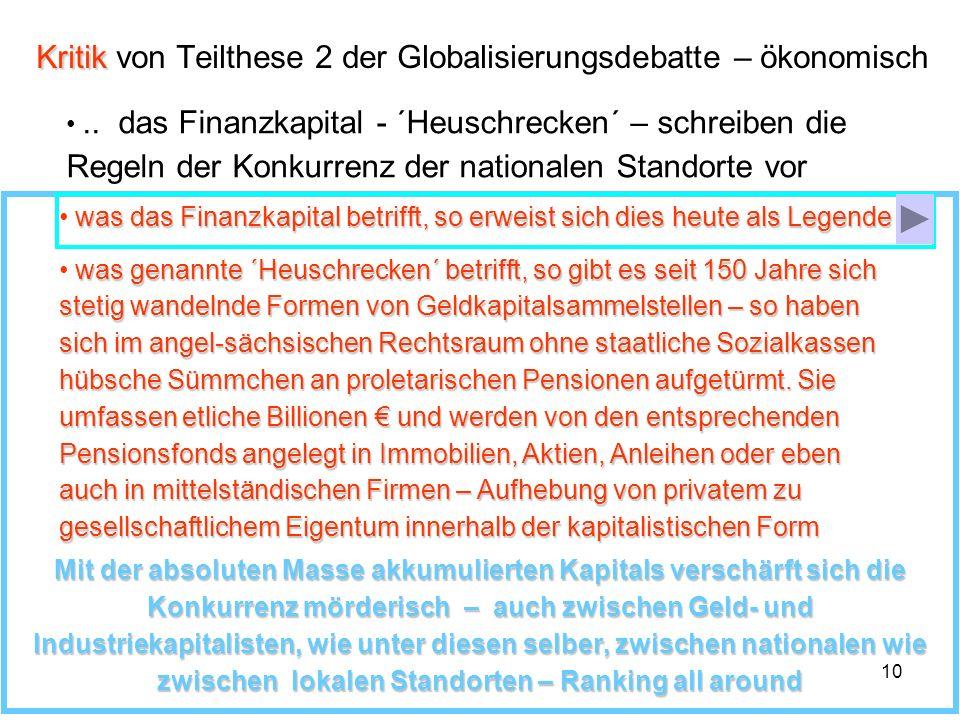 Kritik von Teilthese 2 der Globalisierungsdebatte – ökonomisch