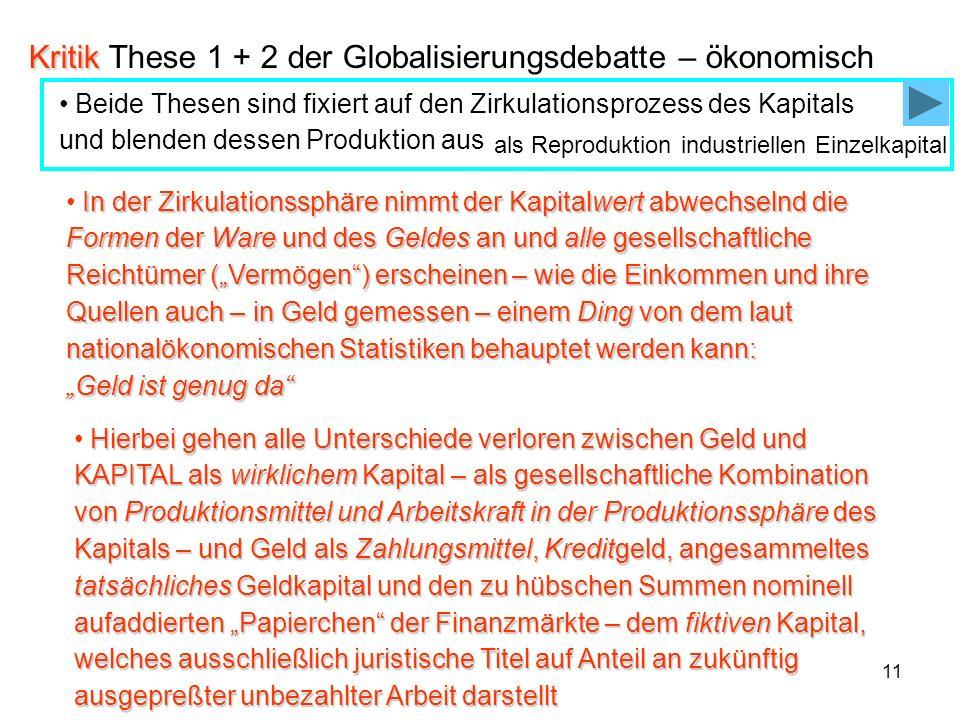Kritik These 1 + 2 der Globalisierungsdebatte – ökonomisch