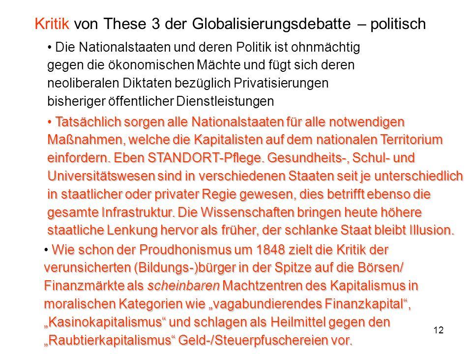 Kritik von These 3 der Globalisierungsdebatte – politisch