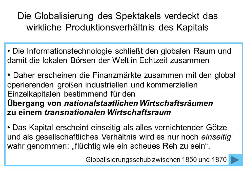 Die Globalisierung des Spektakels verdeckt das wirkliche Produktionsverhältnis des Kapitals
