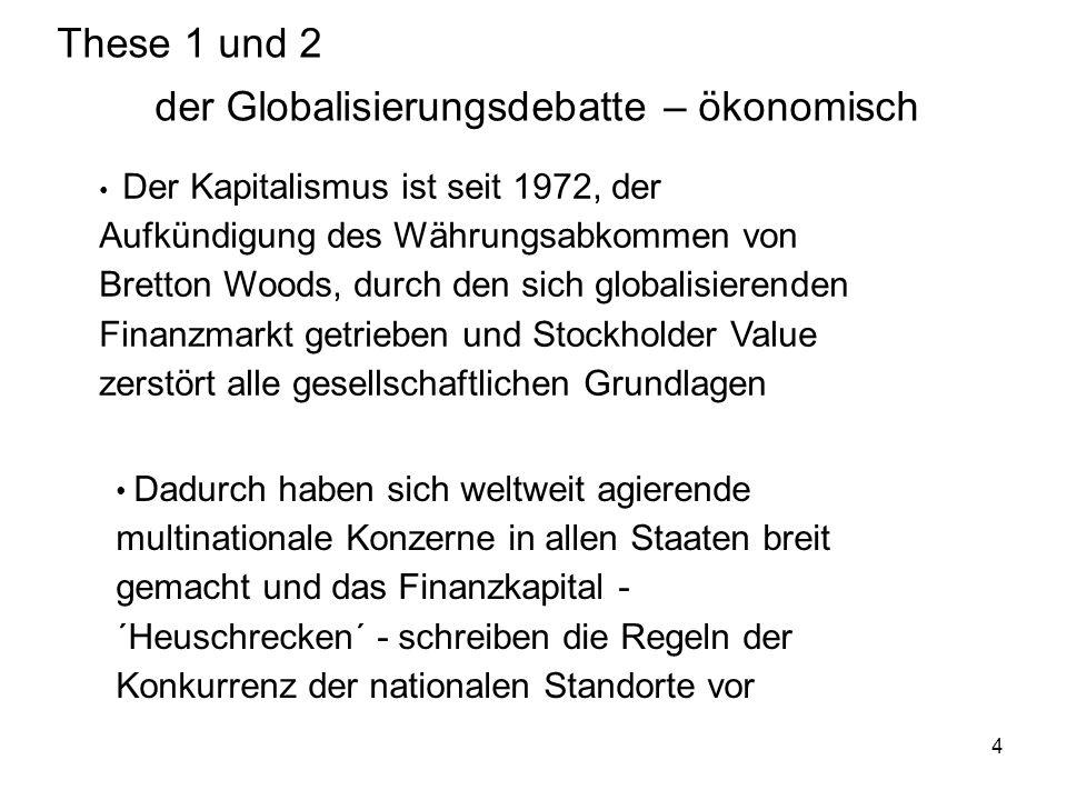 These 1 und 2 der Globalisierungsdebatte – ökonomisch