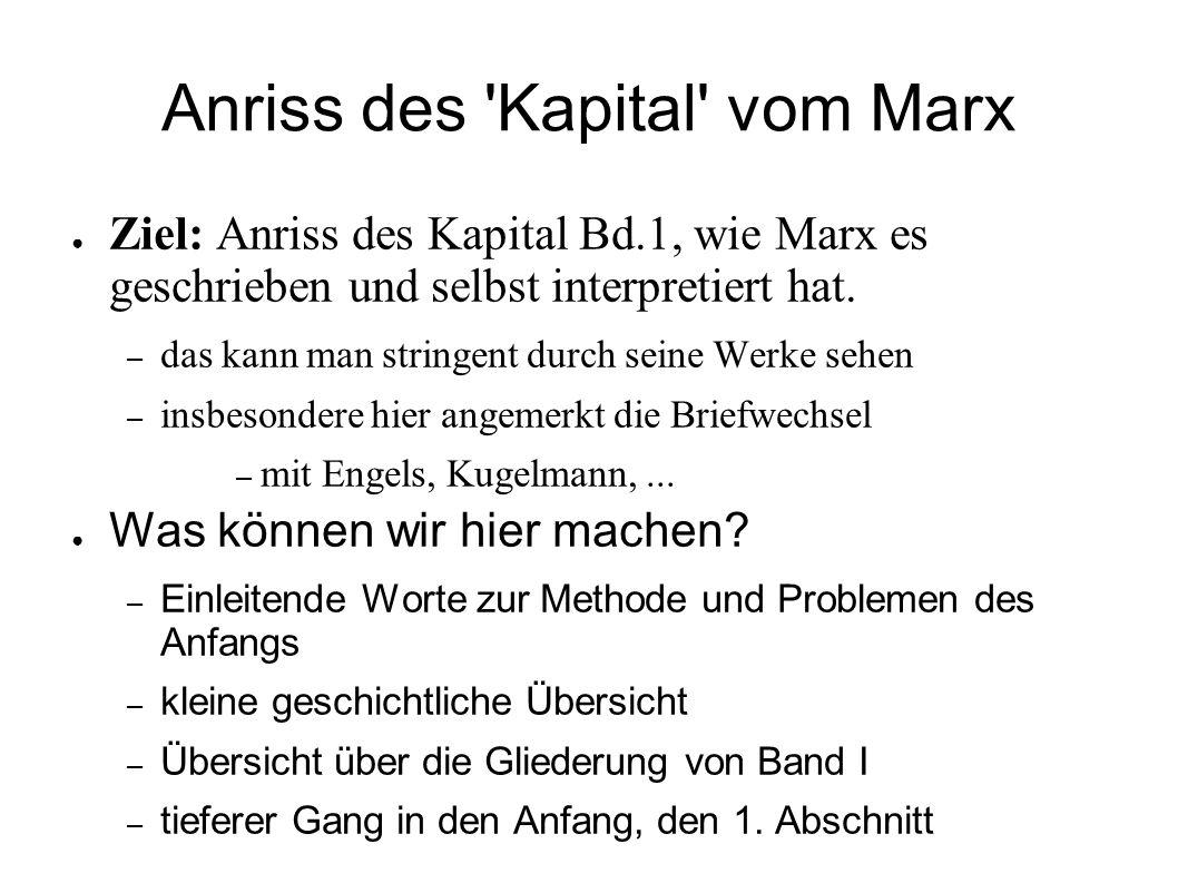 Anriss des Kapital vom Marx