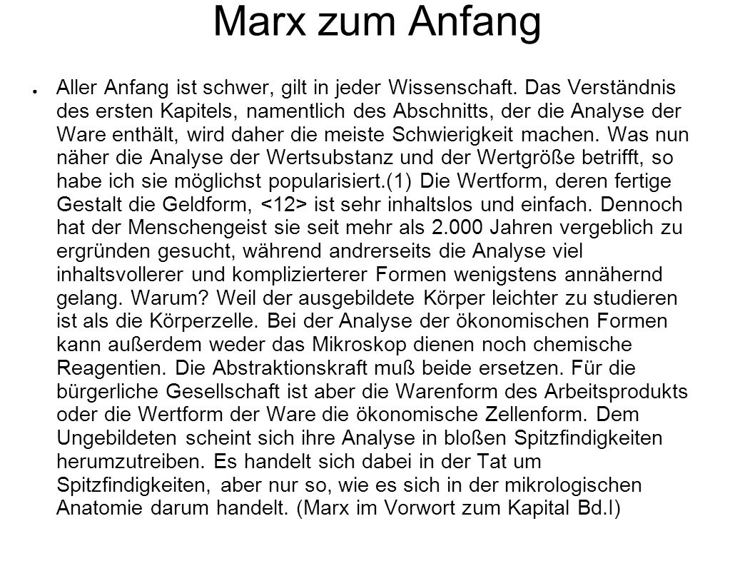 Marx zum Anfang