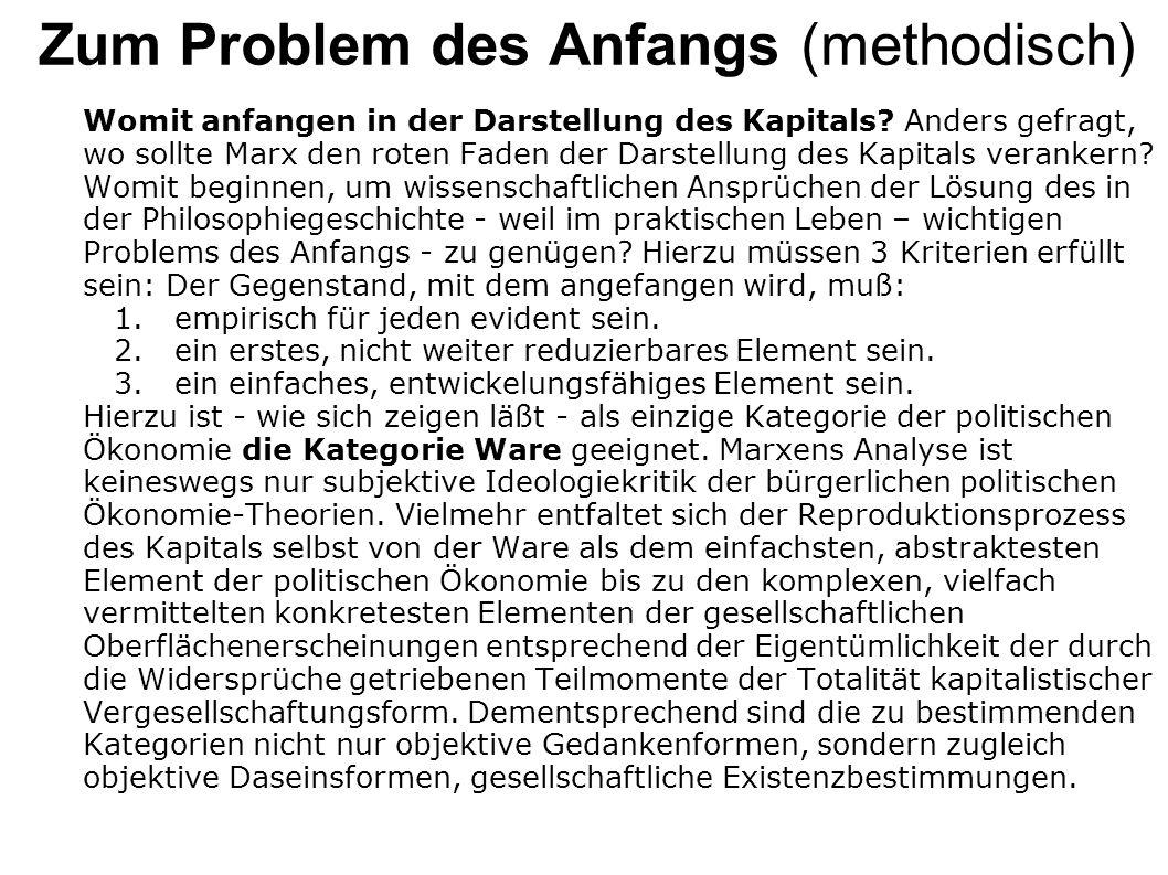 Zum Problem des Anfangs (methodisch)