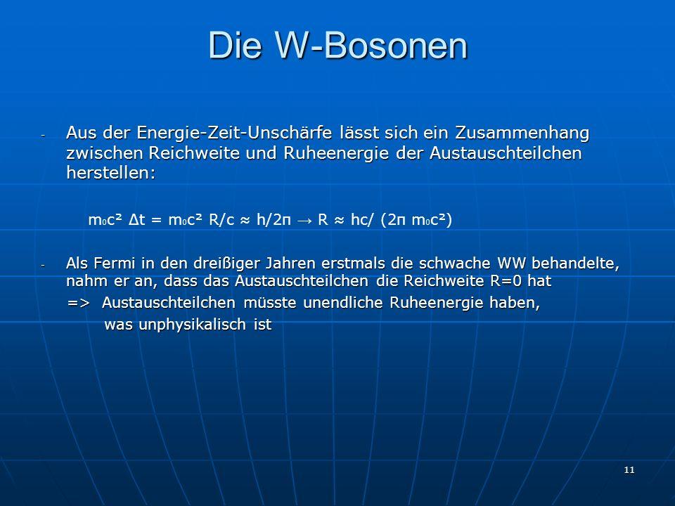 Die W-Bosonen Aus der Energie-Zeit-Unschärfe lässt sich ein Zusammenhang zwischen Reichweite und Ruheenergie der Austauschteilchen herstellen: