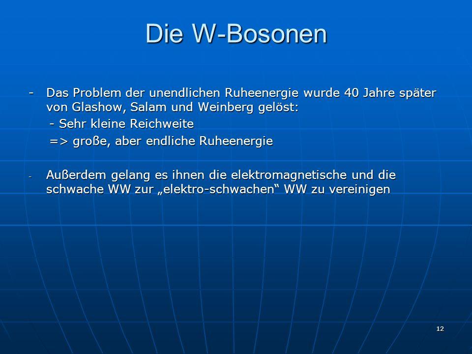 Die W-Bosonen- Das Problem der unendlichen Ruheenergie wurde 40 Jahre später von Glashow, Salam und Weinberg gelöst: