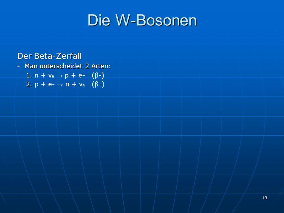 Die W-Bosonen Der Beta-Zerfall - Man unterscheidet 2 Arten: